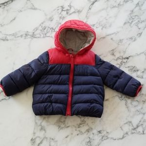 Blue/Red Baby Puffer Jacket, Size 18-24 Months